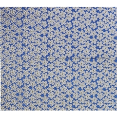 Mens Woven Silk Pocket Handkerchief - Blue Neat Flowers Design