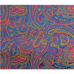 Mens Woven Silk Pocket Handkerchief - Pink Paisley Design