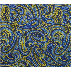 Mens Woven Silk Pocket Handkerchief - Royal Blue Paisley Design