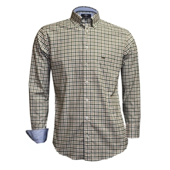 New 2018 Fynch Hatton Shirt - Olive/Taupe - Size Med Only