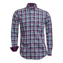 Fynch Hatton Shirt - Berry, Turquoise & Grey