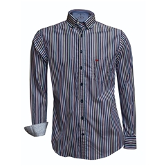 Fynch Hatton Shirt - Navy Fond Stripe - Size 5XL Only