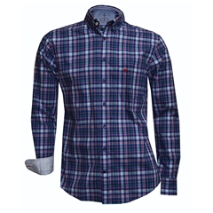 Fynch Hatton Shirt - Navy Fond Check - Size XXL Only