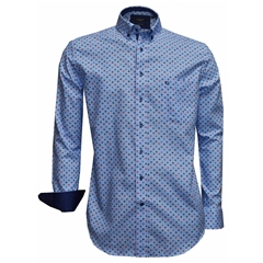 Giordano Shirt - Neat Design On Blue - Regular Fit - Size 3XL Only