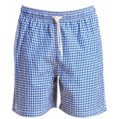 New 2019 Barbour Men's Gingham Check Swim Shorts - Blue