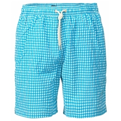 New  2019 Barbour Men's Gingham Check Swim Short - Aqua
