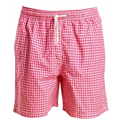 New 2019 Barbour Men's Gingham Check Swim Shorts - Pink