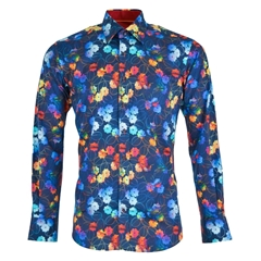 Claudio Lugli Floral Shirt - Blue Background