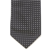 Mens Silk Cravat - Black With White Polka Dot