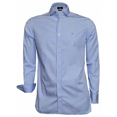 Hackett Painted Bengal Stripe Shirt - Sky - Size 3XL Only