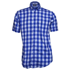 Giordano Shirt - Blue Silver Check - Regular Fit - Size Medium Only