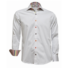 Claudio Lugli White Shirt with Stripe Trim - Size Large Only