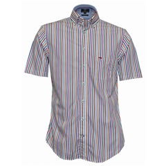 Fynch Hatton Half Sleeve Shirt - Multi Stripe - Size Medium Only