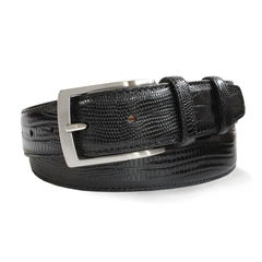 Black Leather Snakeskin Print Belt by Robert Charles