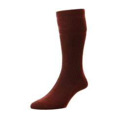 HJ Hall Men's Wool Softop Socks - Burgundy