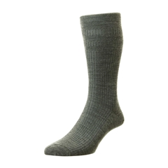 HJ Hall Men's Wool Softop Socks - Mid Grey