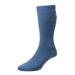 HJ Hall Men's Wool Softop Socks - China Blue (Denim)