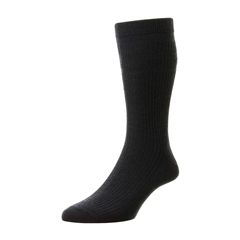 HJ Hall Men's Wool Softop Socks - Navy