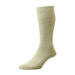 HJ Hall Men's Wool Softop Socks - Oatmeal