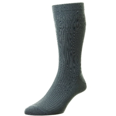 HJ Hall Men's Wool Softop Socks - Slate Blue