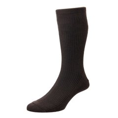 HJ Hall Men's Cotton Softop Socks - Brown