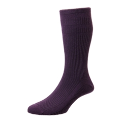 HJ Hall Men's Cotton Softop Socks - Damson