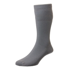 HJ Hall Men's Cotton Softop Socks - Mid Grey