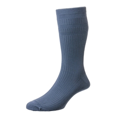 HJ Hall Men's Cotton Softop Socks - Slate Blue