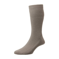 HJ Hall Men's Cotton Softop Socks - Taupe