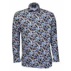 Giordano Floral Pattern Shirt - Light Blue