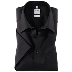 Olymp Comfort Fit Short Sleeve Shirt - Black with Kent Collar