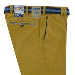 "Meyer Textured Cotton Shorts - Washed Yellow - 40"" Waist Only"
