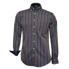 Autumn 2018 Fynch Hatton Shirt - Navy Multicolour Stripe