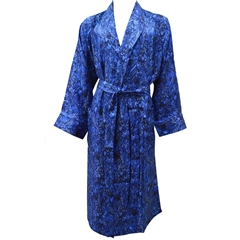 Men's Silk Dressing Gown - Royal Blue Peacock - Size XXL Only