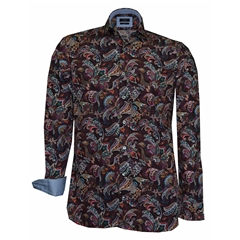Autumn 2018 Giordano Multi-Floral Shirt - Wine