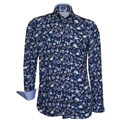 Autumn 2018 Giordano White Flowers On Blue Shirt