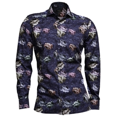 Giordano Abstract Flowers on Navy Shirt