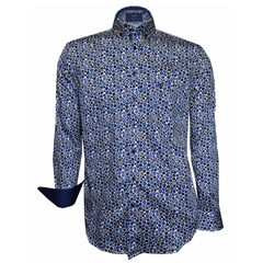 Autumn 2018 Giordano Blue & Tan Spots Shirt