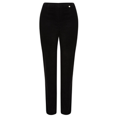 Autumn 2018 Robell Trousers - Marie Slim Fit Stretch Velvet - Black