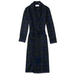 Derek Rose Pure Wool Mens Tasseled Belt Dressing Gown - Navy Green Tartan