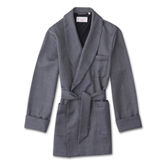 Derek Rose Pure Wool Smoking Jacket - Herringbone Navy