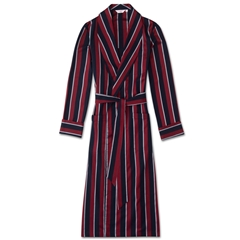 Derek Rose Classic Regimental Cotton Satin Stripe Dressing Gown
