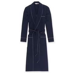 Derek Rose Mens Cotton Satin Stripe Piped Dressing Gown in Navy