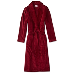Derek Rose Mens Towelling Gown Robe with Pure Cotton Velour - Triton Wine