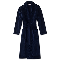Derek Rose Mens Towelling Gown Robe with Pure Cotton Velour - Triton Navy