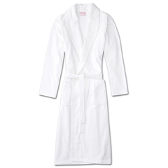 Derek Rose Mens Towelling Gown Robe with Pure Cotton Velour - Triton White