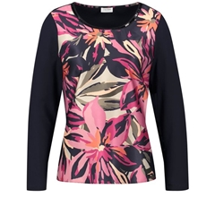 Gerry Weber Long Sleeve Top - Navy/Pink