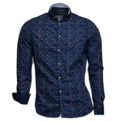 Colours & Sons Feathers on Navy Shirt - Large Only