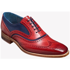Barker McClean - Red Hand-Painted / Navy Suede