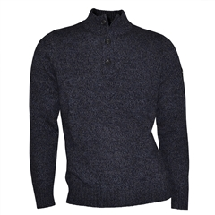 Fynch Hatton Merino Wool Button Neck - Blue Marl - Size XXL Only